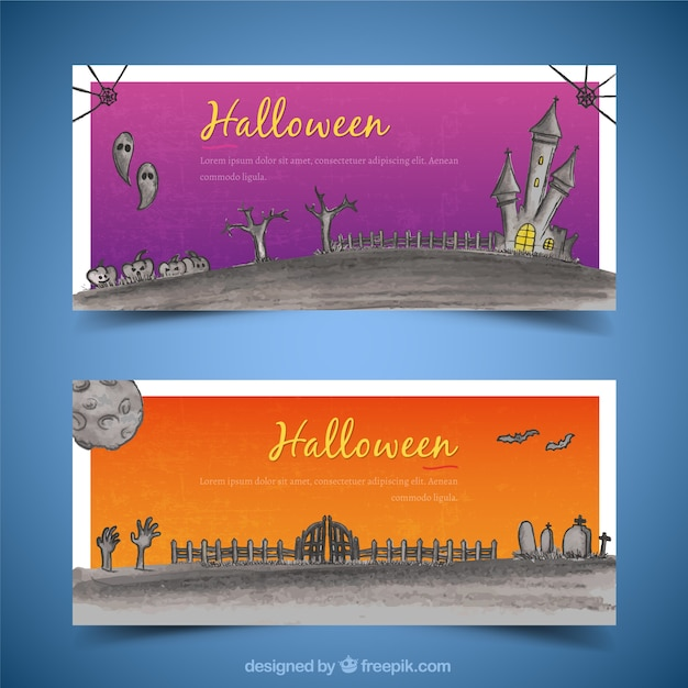 Watercolor banners with a cemetery and a castle