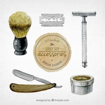 Watercolor barber shop accessories