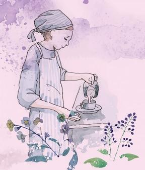 水彩バリスタ女性エスプレッソコーヒーイラスト