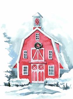 Watercolor barn illustration for christmas