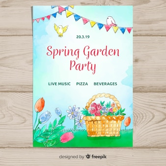 Watercolor basket spring party poster