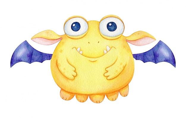 수채화 박쥐 괴물. 아이 디자인을위한 날개를 가진 귀여운 노란 캐릭터