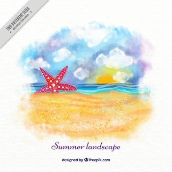 Watercolor beach background with starfish on the sand