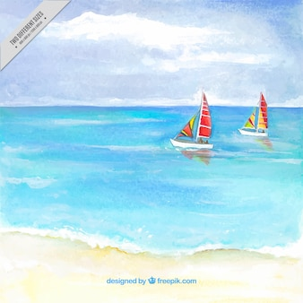 Watercolor beach background with two boats