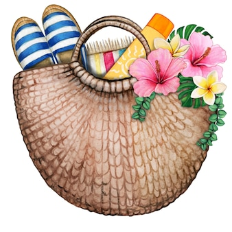 Watercolor beach bag with flowers