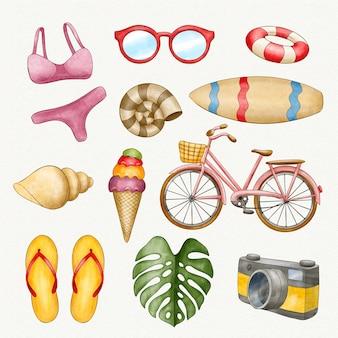 Коллекция акварельных пляжных элементов