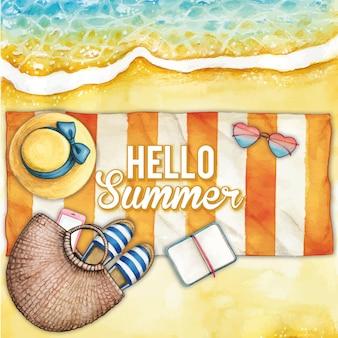 縞模様のタオルで水彩のビーチ イラスト