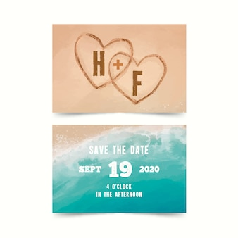 Watercolor beach save the date card