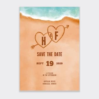 水彩ビーチ結婚式招待状