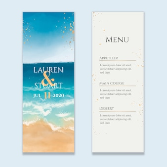 Watercolor beach wedding menu