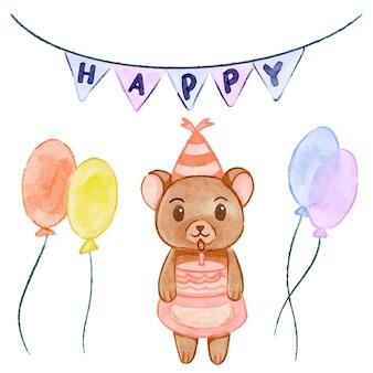 水彩クマ-誕生日パーティー