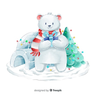 Watercolor bear christmas characters collection