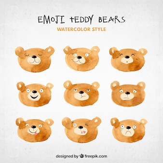 Акварели медведь emojis