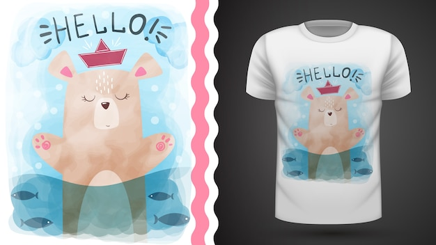 Watercolor bear - idea for print t-shirt