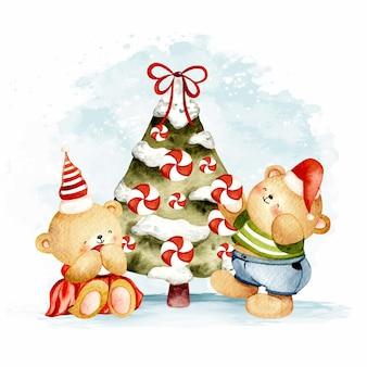 クリスマスツリーと水彩クマ