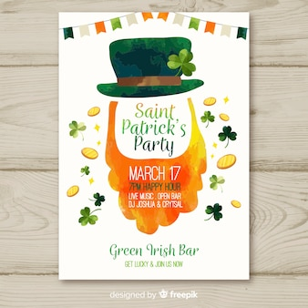Watercolor beard st patrick's party poster