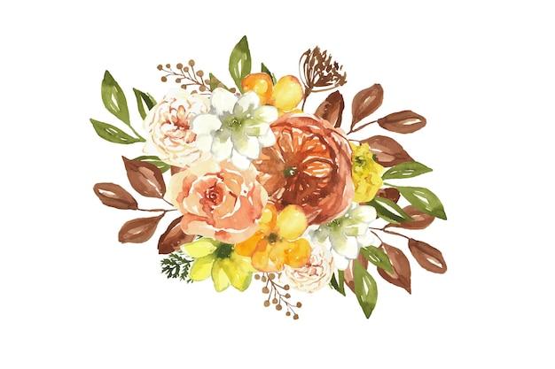 수채화 아름다운 가을 꽃 꽃다발 가을 꽃