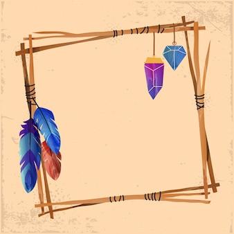 Watercolor beautiful boho frame