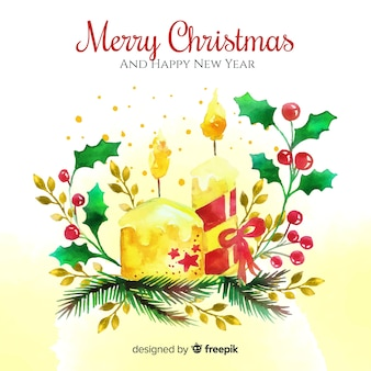 Watercolor beautiful christmas candle background