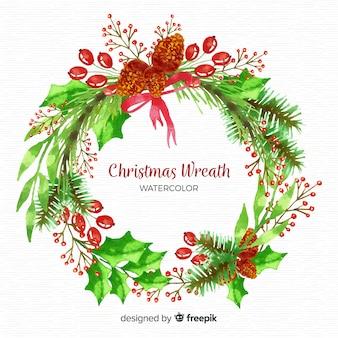 Watercolor beautiful christmas wreath