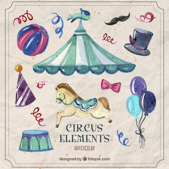 Watercolor beautiful circus elements