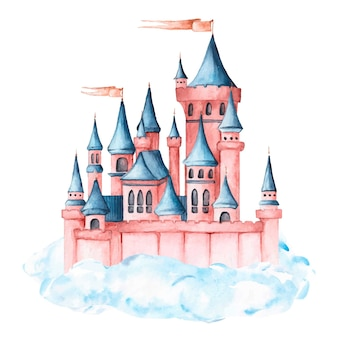 Watercolor beautiful fairytale castle