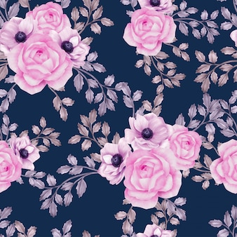 Watercolor beautiful floral leaves seamless pattern rose