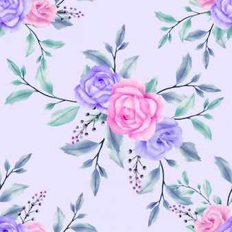 Watercolor beautiful floral leaves seamless pattern