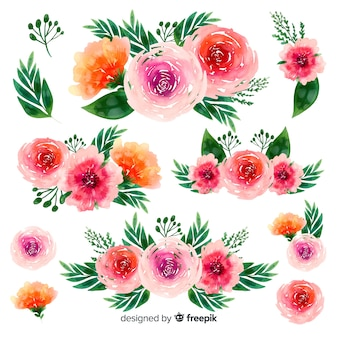 Watercolor beautiful flowers bouquet background