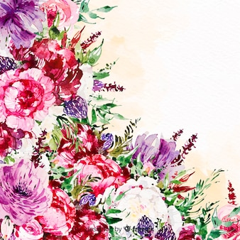 Watercolor beautiful flowers colorful background