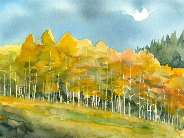 Watercolor beautiful hand drawn tree painting