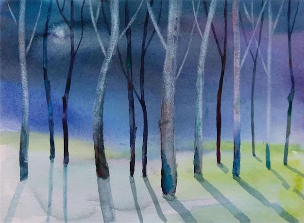 Watercolor beautiful hand drawn tree painting Premium Vector