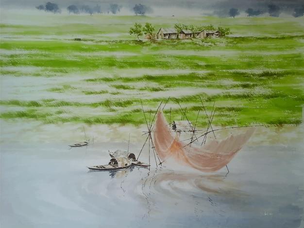 水彩の美しい自然の川とボートの絵