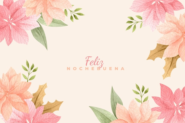 Watercolor beautiful nochebuena background