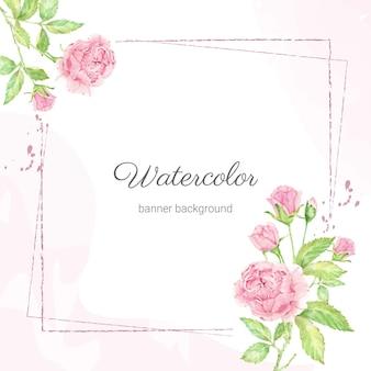 Акварель красивый розовый букет английских роз с рамкой