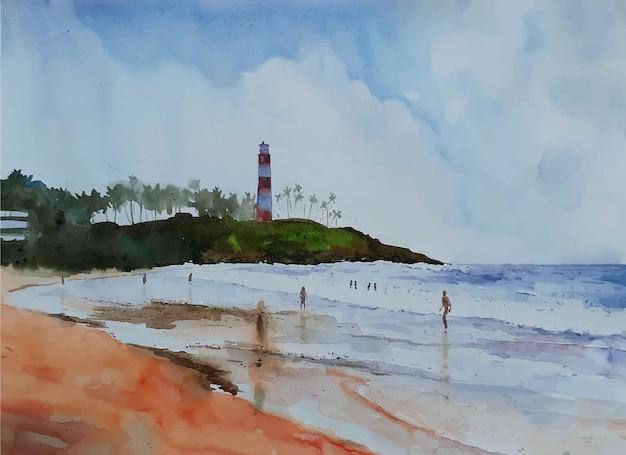 水彩画の美しい海のビーチと空の風景の景色