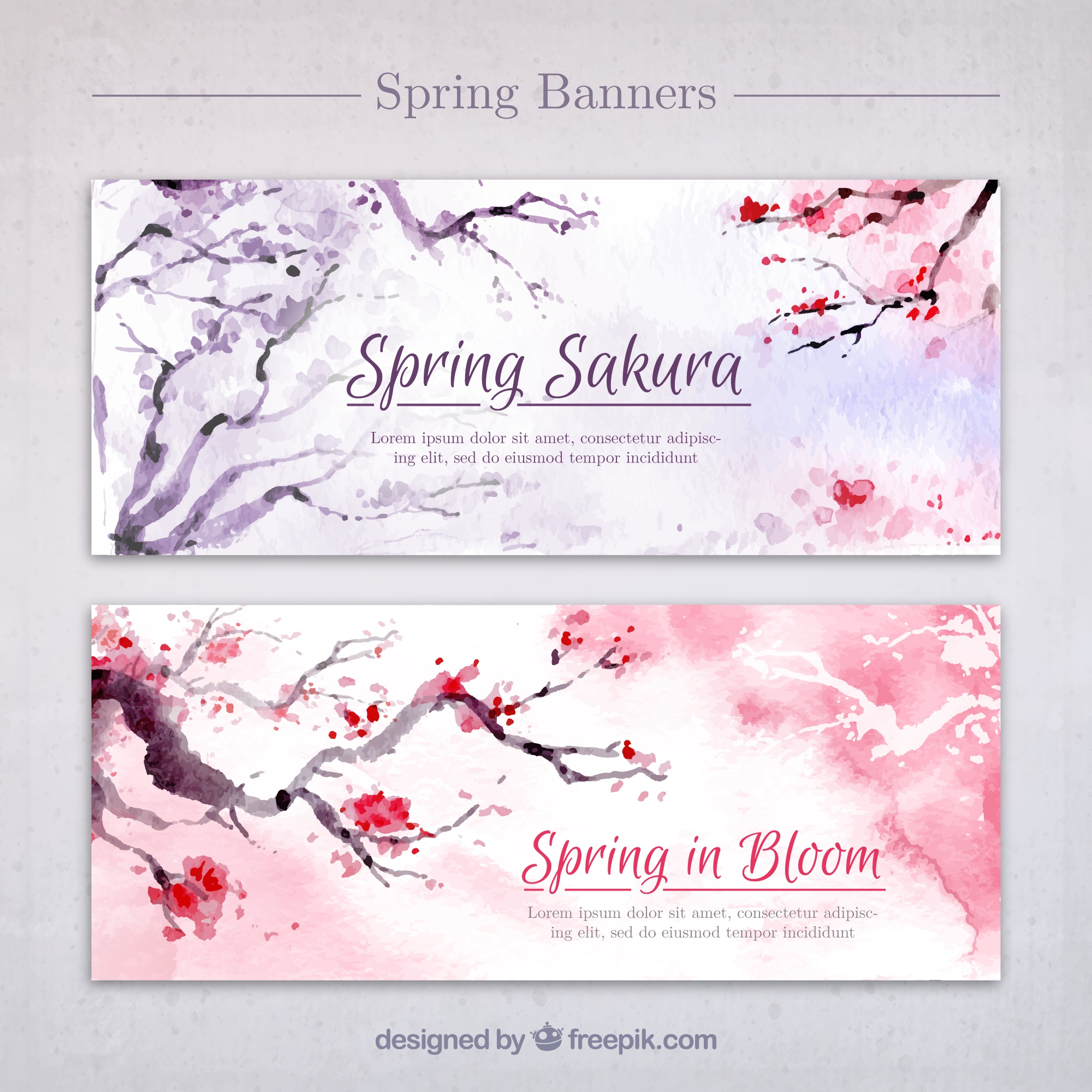 Watercolor beautiful trees banners