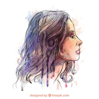 Watercolor beautiful woman Free Vector