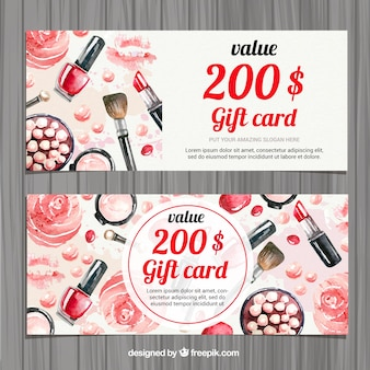 Watercolor beauty accessories gift card