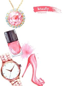 수채화 아름다움과 화장품 배경입니다. 메이크업 아티스트 개체: 보석, 여성용 시계, 신발, 매니큐어. 벡터 아름다움 배경입니다.