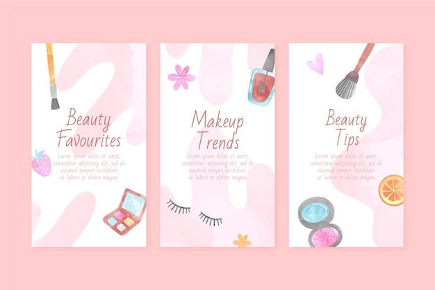 Watercolor beauty instagram story set