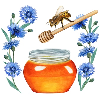 Watercolor bee flying on honey jam in a bluebottle wreath