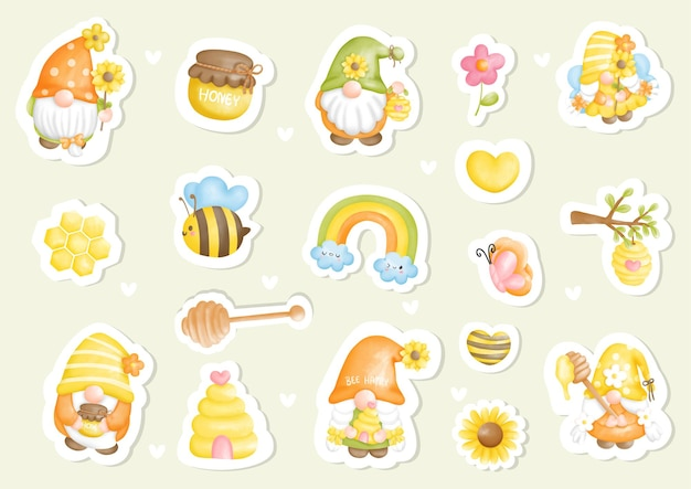 Watercolor bee gnome sticker planner and scrapbook digital painting