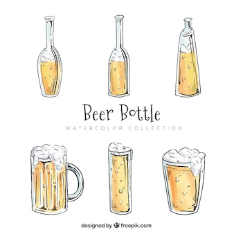 Watercolor beer bottle collection