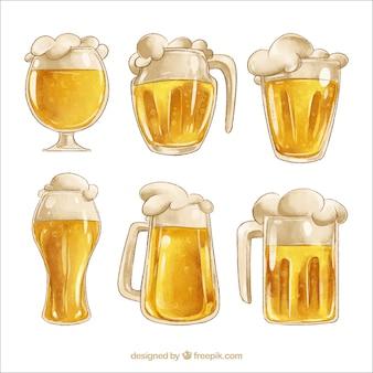 Bicchiere da birra acquerello e collezione mug