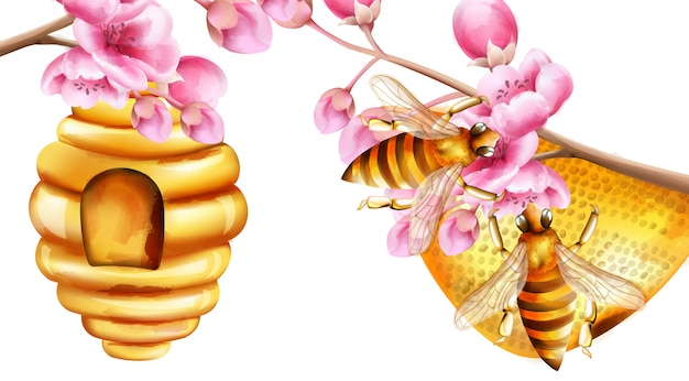 Watercolor bees building a honeycomb on sakura tree branches