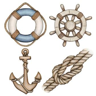 Акварельные бежевые морские иконки буй, якорь, шлем и узел