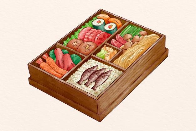 맛있는 케이크와 함께 수채화 도시락 상자