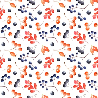 Watercolor berries pattern