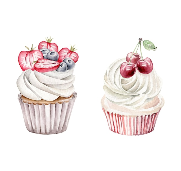 Watercolor berry cupcakes